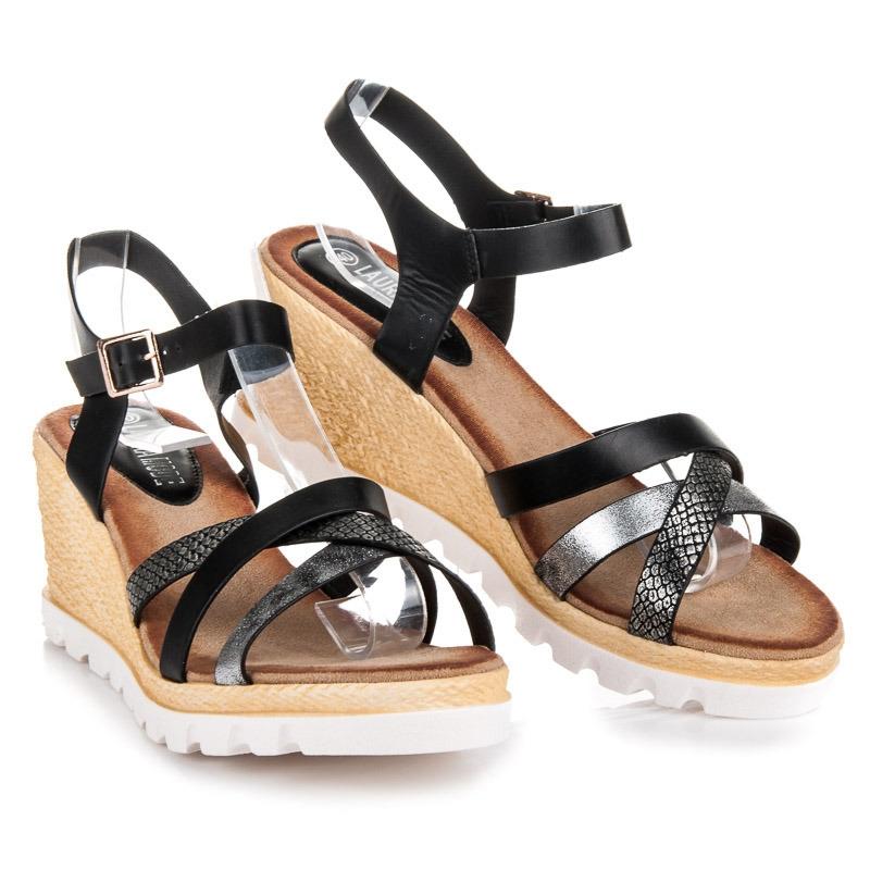 bd195d6ad9f6 Klasické čierne remienkové sandále na kline - LS-82B