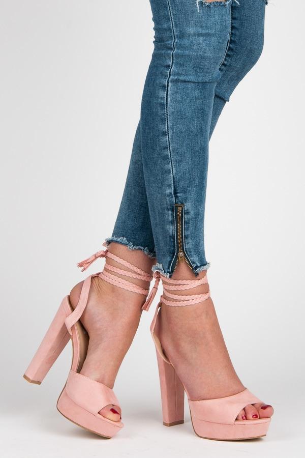 82c12f62cd Luxusné ružové sandálky s viazaním - 1233-20P