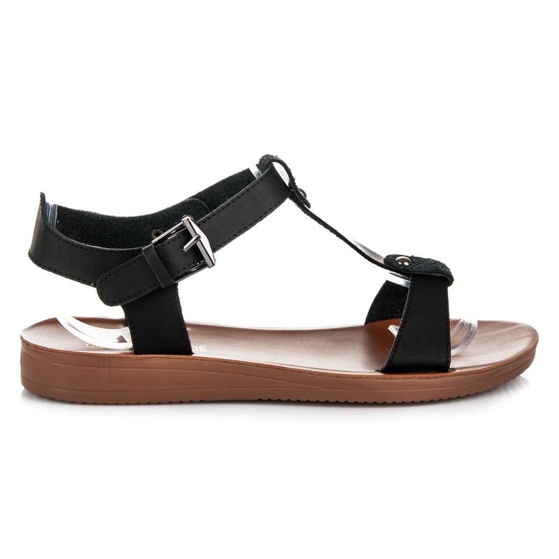 863ce5f456 Čierne páskové letné sandále - 009-10B G