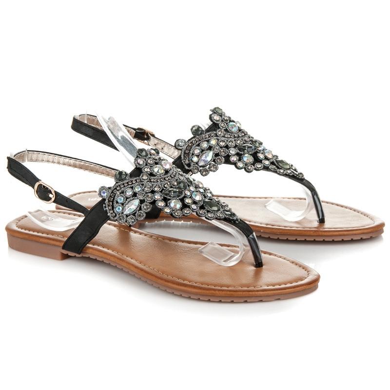 7e6562cda246 Luxusné čierne sandále s kamienkami - D-6532B