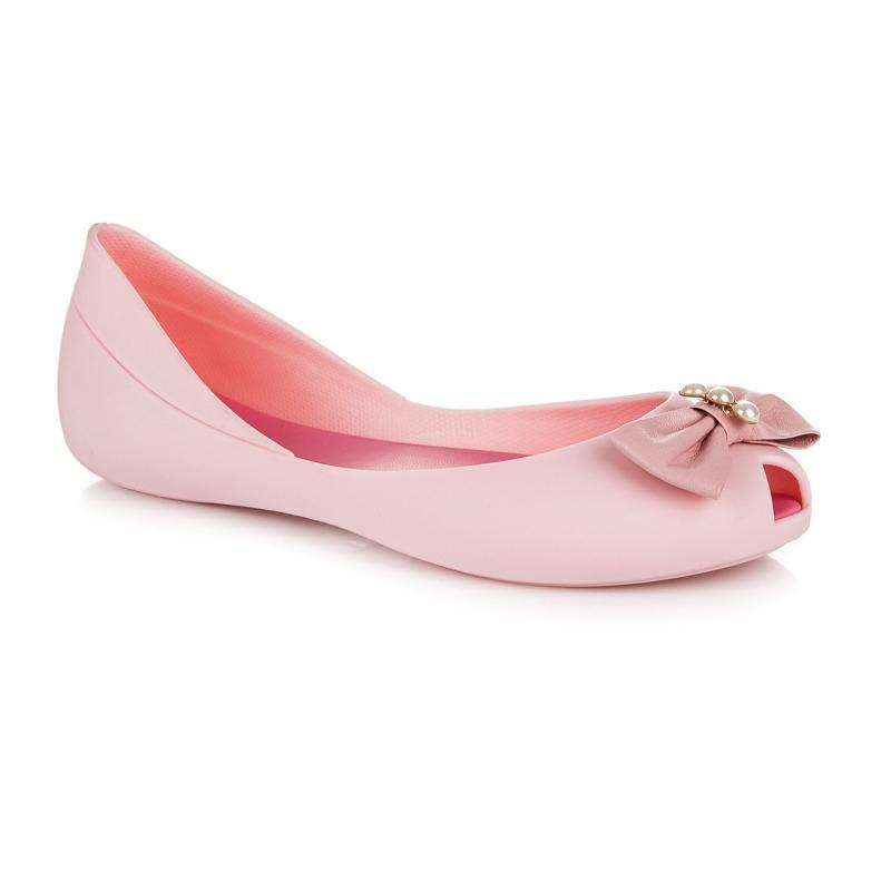 2cda0f74624e Gumové ružové balerínky s mašličkami - PT100-20P