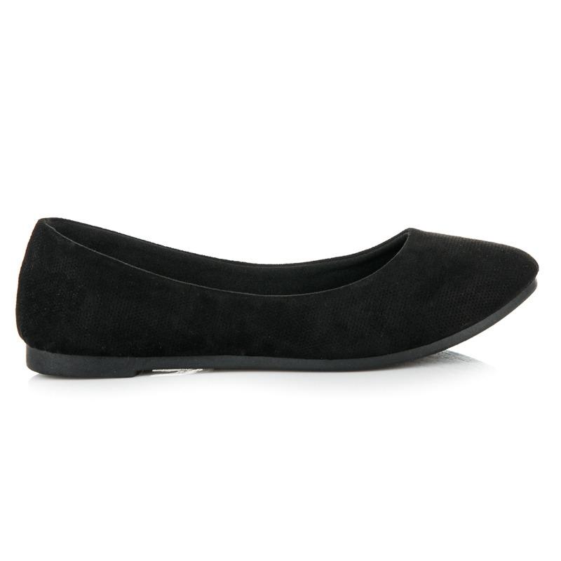 26c46b90ef58 Pohodlné čierne semišové balerínky - JX38B
