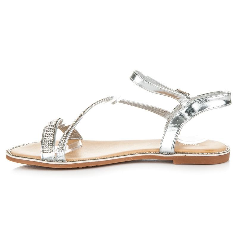 05c3caddc486b Ploché strieborné sandále s kamienkami - S78S | dawien.sk