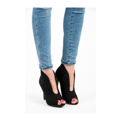 6d56b4d78 Elegantné čierne letné členkové topánky s otvorenou špičkou - 1191-1B