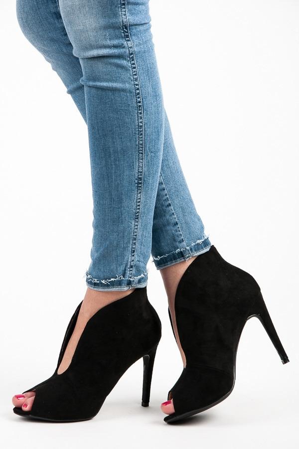 f007f19b3ec2 Elegantné čierne letné členkové topánky s otvorenou špičkou - 1191 ...