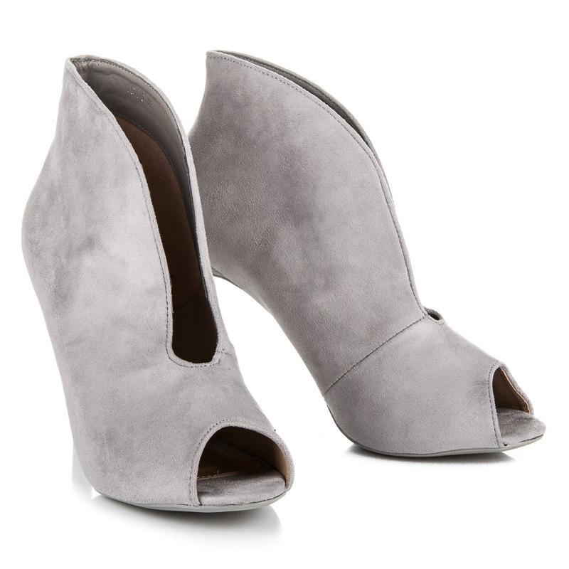 55d1160ab940 Elegantné šedé letné členkové topánky s otvorenou špičkou - 1191-5G ...