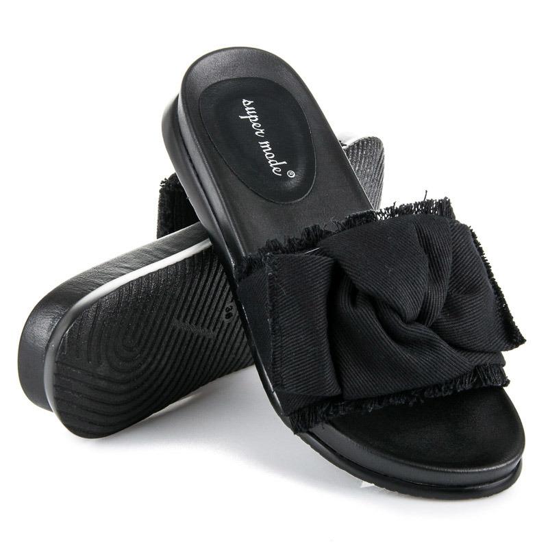 d9733a4f4954 Originálne čierne džínsové dámske šľapky - 1169B