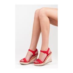 b9bd8de7a2fc Dámske červené páskové sandále na kline - Y5R
