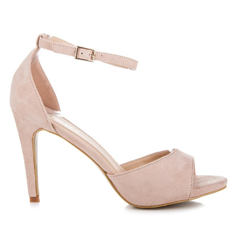 cdddaabc2293 Ružové semišové sandále na podpätku - YQE17-1738P