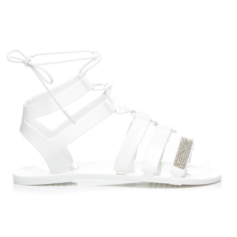 a3f4c7b83 Senzačné gumové biele sandále s kamienkami - 3201W | dawien.sk