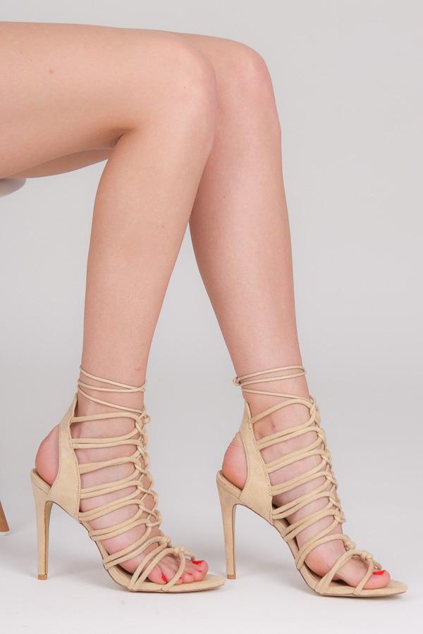 8ebecfb36a Dokonalé béžové letné sandále na šnurovanie - YH03BE