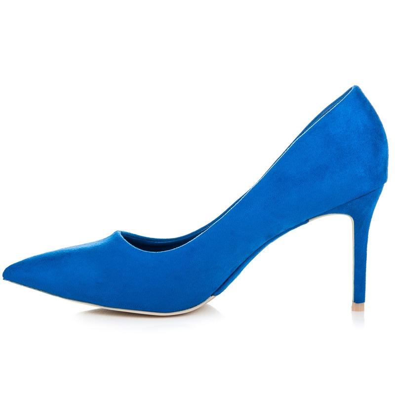 Semišové modré lodičky - 1243-13N  a8583ea31d