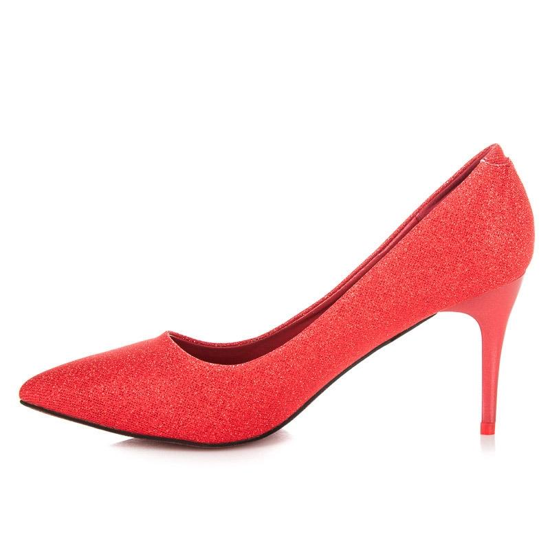 Pekné trblietavé červené lodičky - LEI-139R  e3d0e1ff10