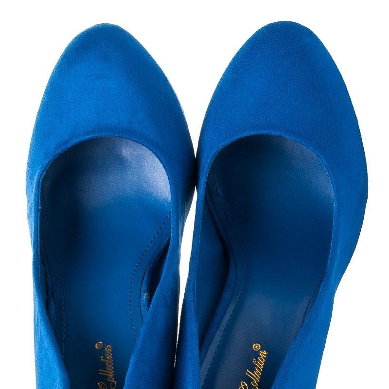 Elegantné modré semišové lodičky na vysokom stĺpcovom podpätku - AL-19BL fe377be12d