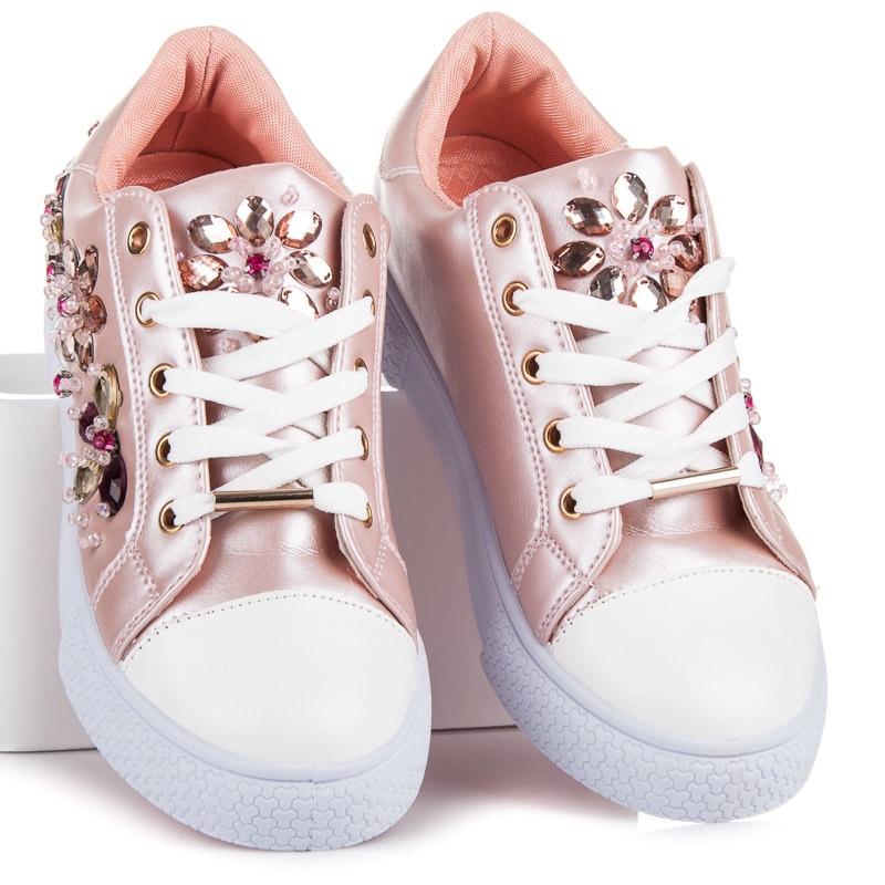 Ružové tenisky s kamienkami - KS-1042P  bb5f38cec3a