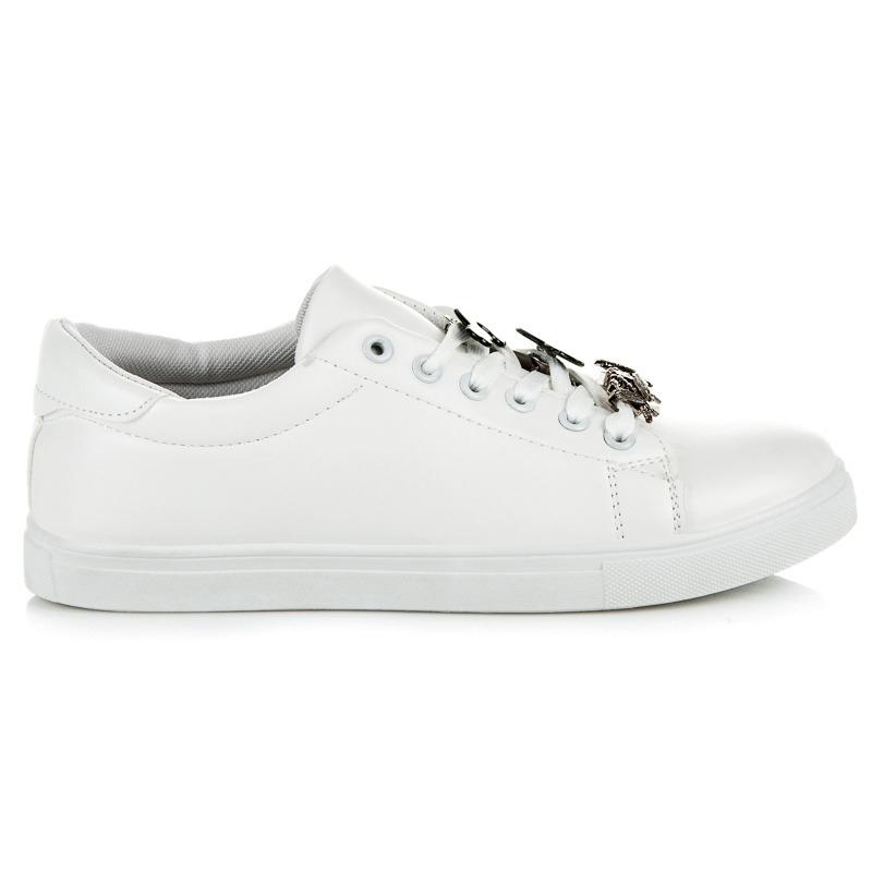bcc44118f8 Biele dámske tenisky s ozdobami - 8221-41W