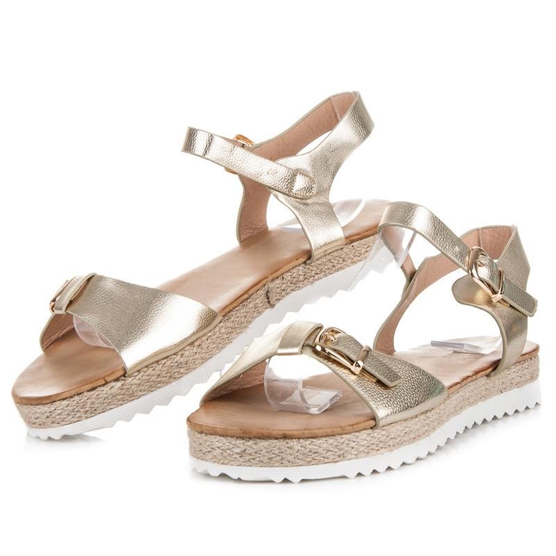 Zlaté sandále na platforme - 3073-37GO  2606baa8d32