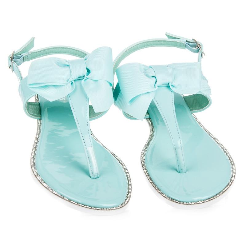 e635f4c2bb53 Štýlové ploché tyrkysové sandále s mašľou - 6130-11BL