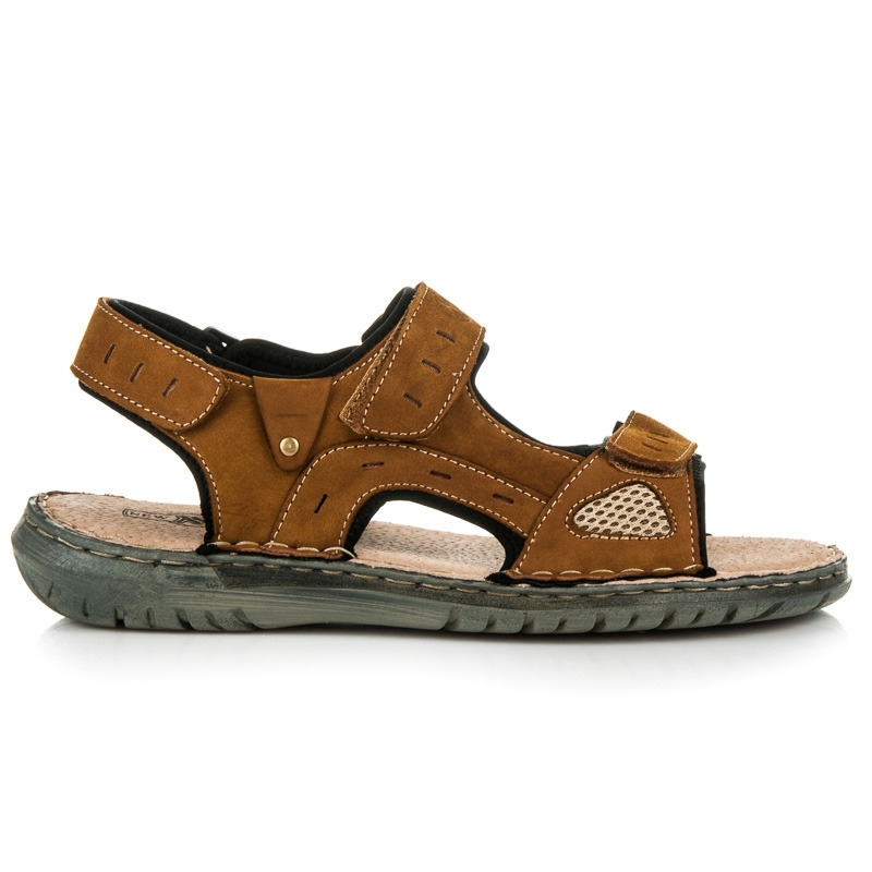 beca3bedbd36 Pohodlné pánske hnedé kožené sandále - SS16895-3C
