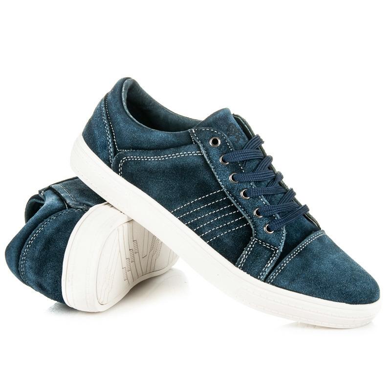 Pánske modré kožené tenisky - SD71-11BL  bb533f889b1