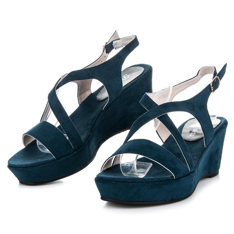 09f29052f1e5 Modré semišové sandále na kline - 6-308BL