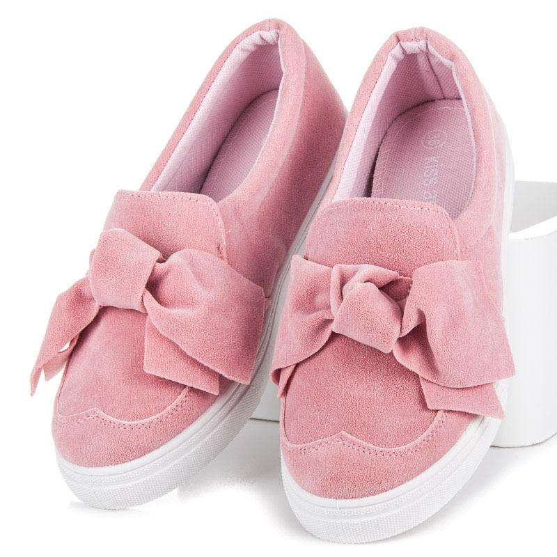Ružové tenisky s mašľou - CR-259CO  a8b22c96917