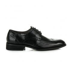 Elegantné kožené čierne poltopánky  - S122104NE
