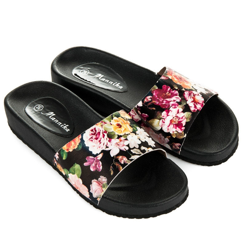 034c5b9b80 Dámske čierne kvetinové šľapky - WL1392FL-B