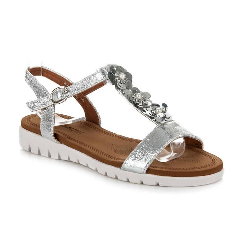 26c43fd72b38 Pohodlné dámske strieborné sandále s kvetinkami - HT-2667S