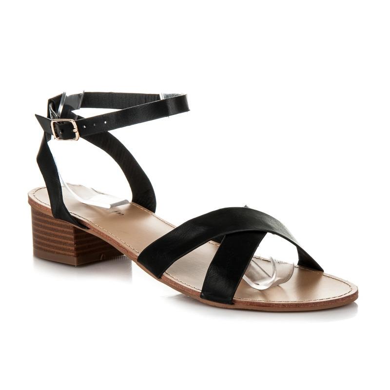 af27078ad801 Čierne dámske sandále na nízkom podpätku - WL162B