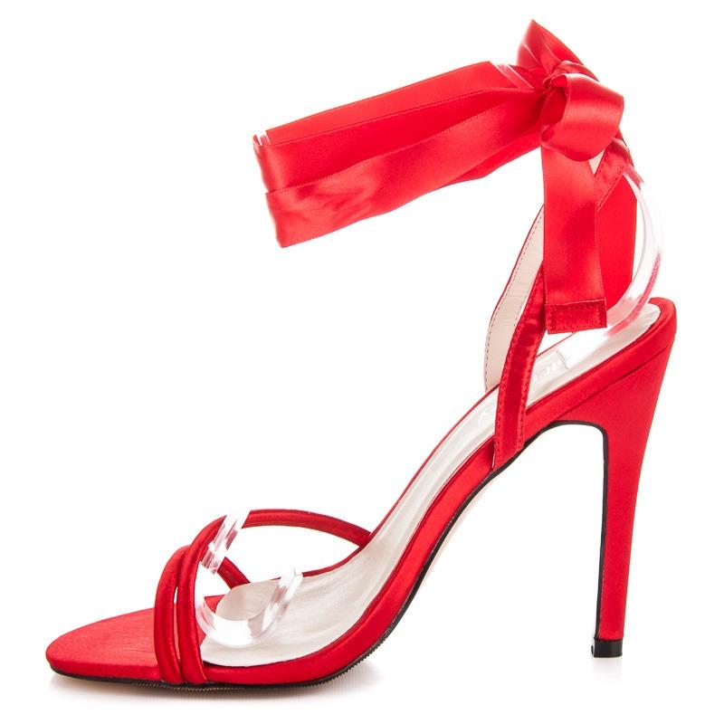 329a806bb9 Elegantné červené saténové dámske sandále - JM-97R