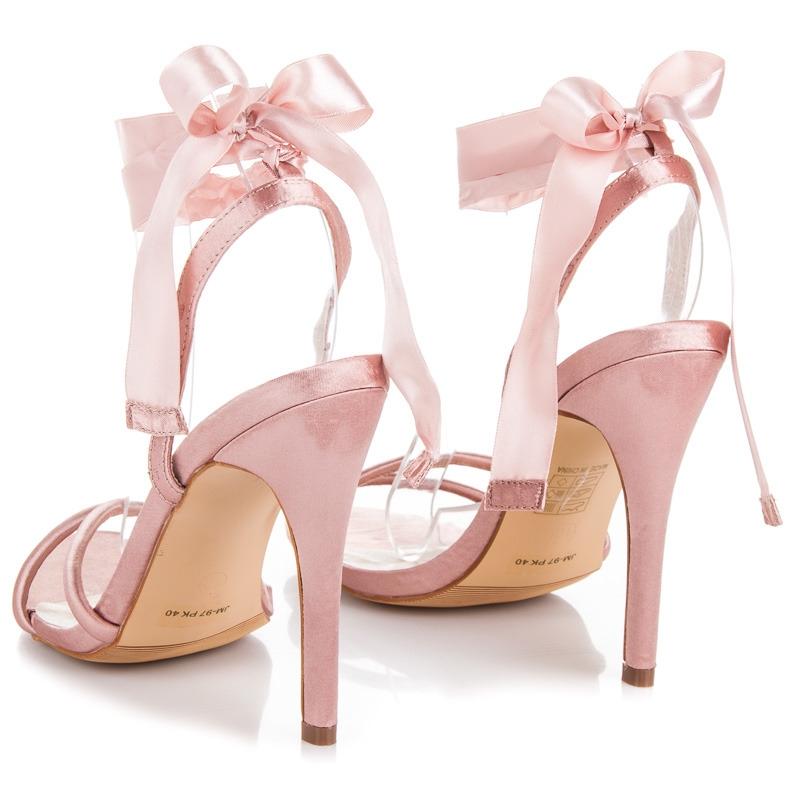 8705be4ad62 Elegantné ružové saténové dámske sandále - JM-97P