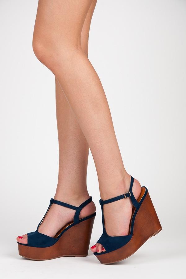 aa15e9acbc06 Luxusné modré semišové sandále na kline - S-26BL