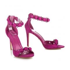 Módne fialové sandále s ozdobným pásikom okolo členku - LE022PU
