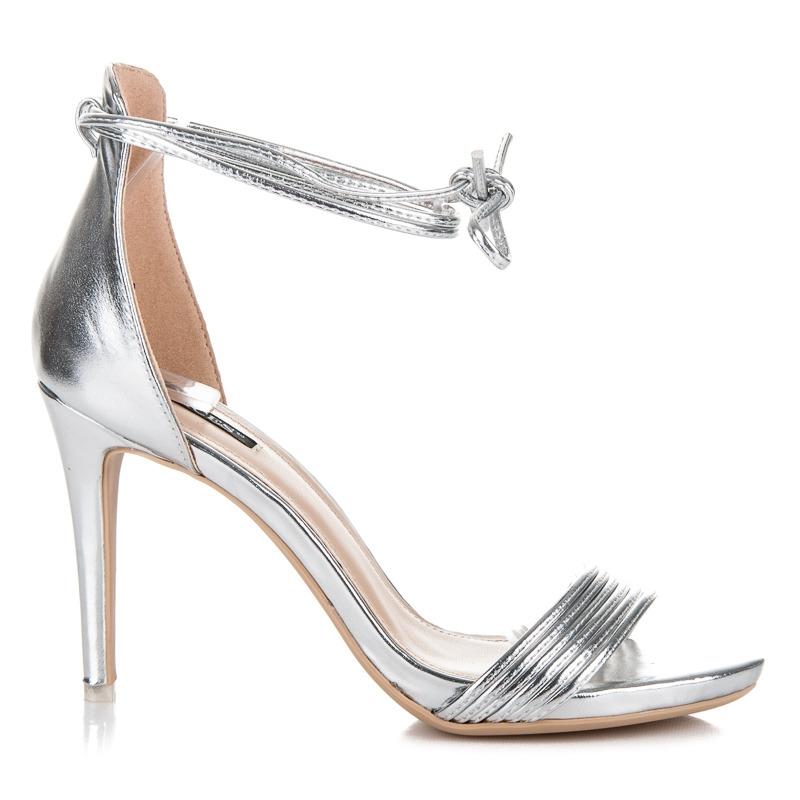 4bd2c45335cd Dámske strieborné sandále s viazaním - 5057-40S