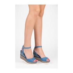 Pohodlné modré sandále na kline so vzorom - 6107-13D.BL