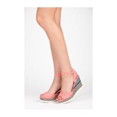 Pohodlné ružové sandále na kline so vzorom - 6107-20P