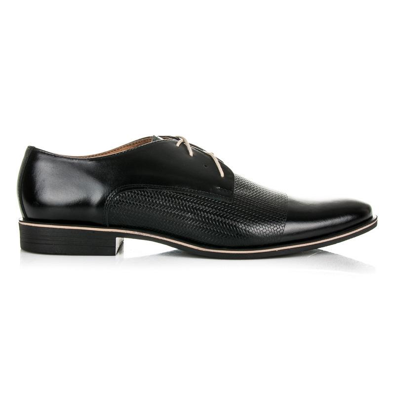 3f10730aa1 Luxusné pánske čierne kožené poltopánky - 303B