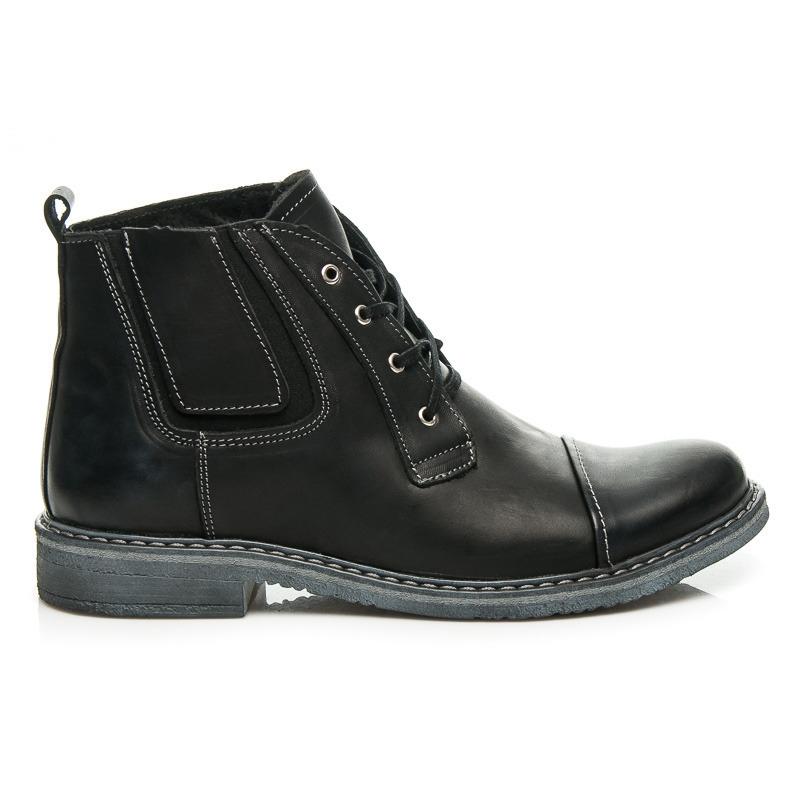 e051db3f60 Pánske čierne kožené členkové topánky - 321B.