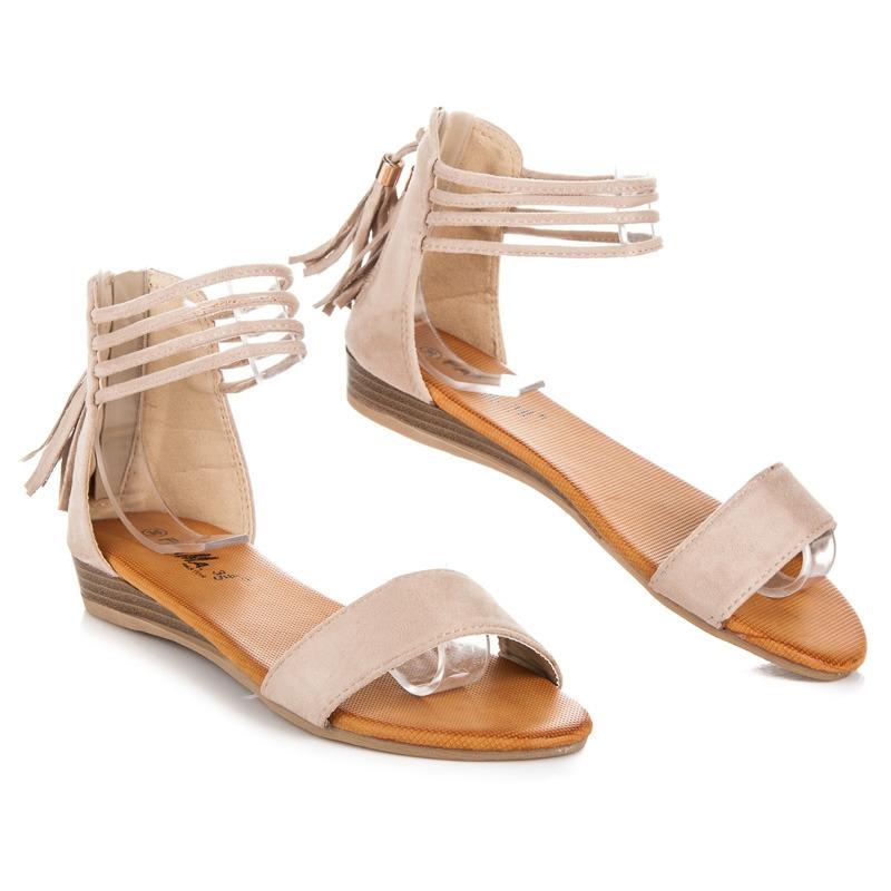 da3a6ea805aa Ploché béžové semišové sandále - FM852A