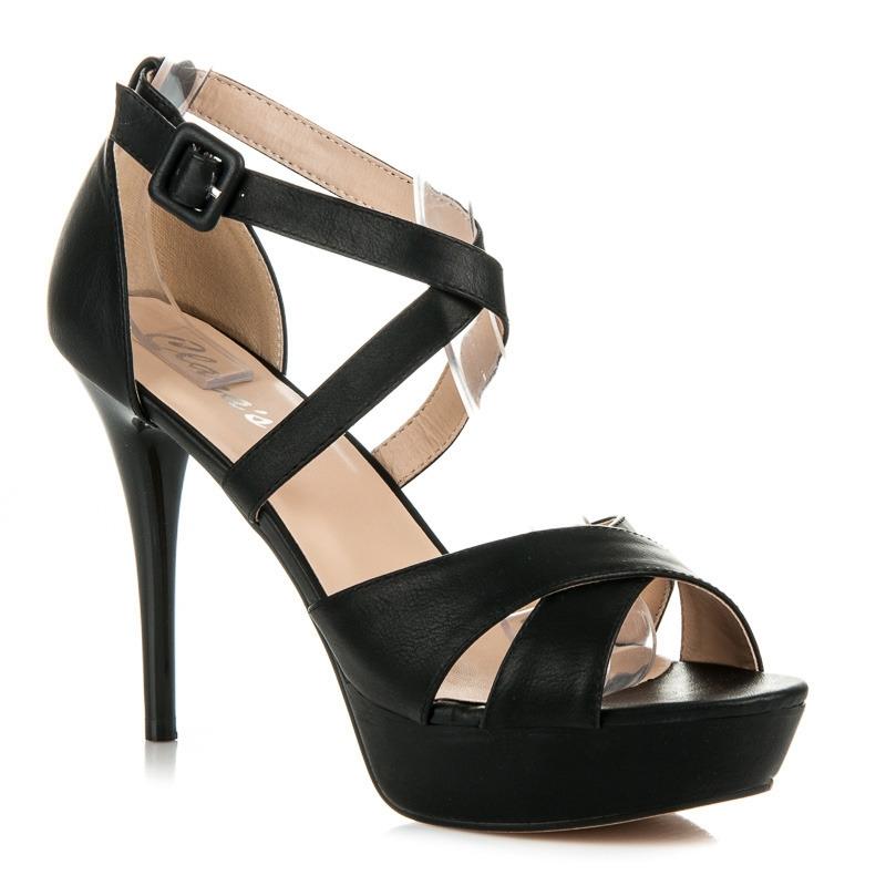 967f70874b23 Čierne sandále na vysokom podpätku - 5277NE