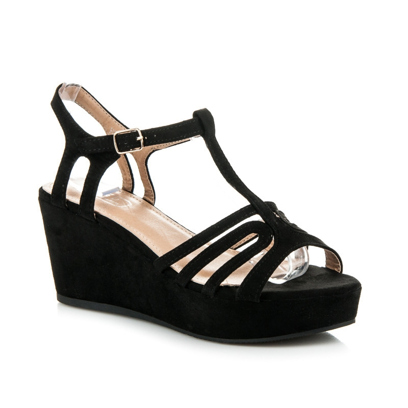 e5b334b3a777 Dámske čierne sandále na platforme - H01-9B