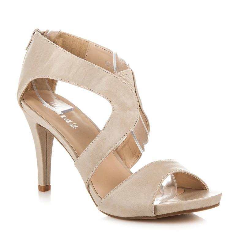 f2c5b7867b36 Béžové dámske sandále na zips - B5270BE
