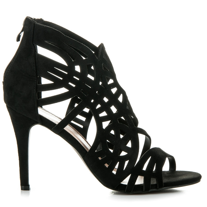ceae743c2b2f Čierne ažúrové sandále na zips - 100-729B