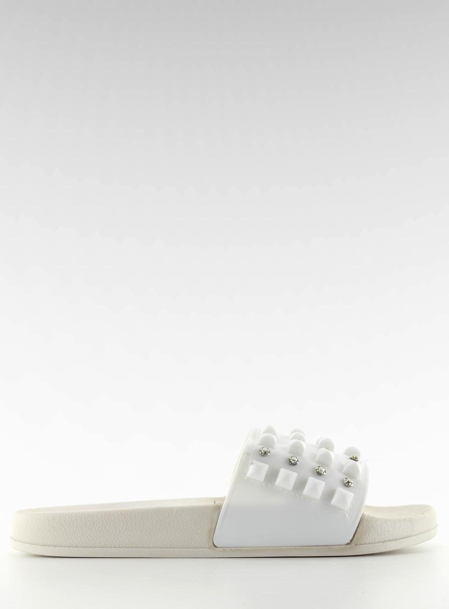 616a16d21 Senzačné biele šľapky s kamienkami - ts168-8 | dawien.sk