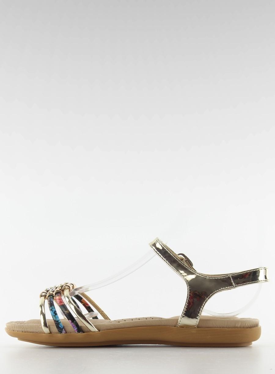 7a4d97ecb895 Dámske zlaté sandále s farebnými pásikmi - fh-2a041