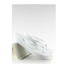 Dámske biele žabky na platforme - b765