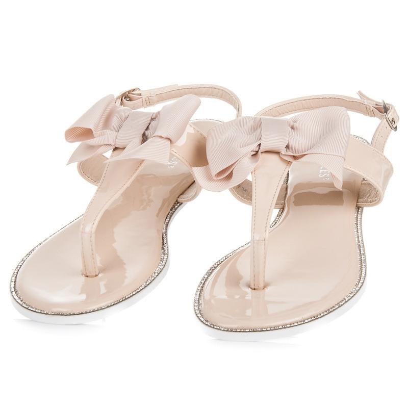 d9cd3fca6292 Štýlové béžové sandále s mašľou - 6130-14BE