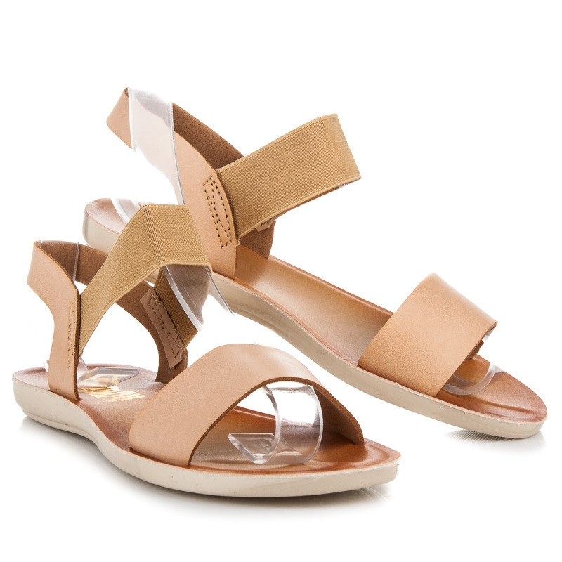 0e4e2c5c6a5f Pohodlné béžové sandále s gumou - WS-03BE