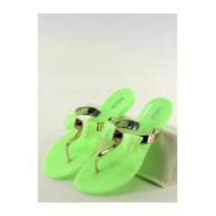 Dámske zelené gumové žabky s mašľou - T-9110